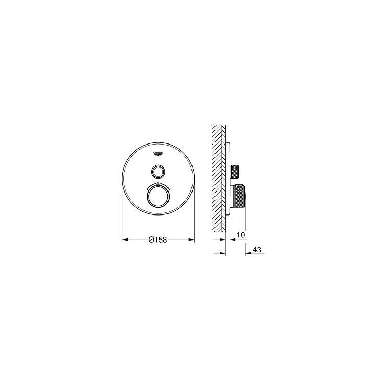 SmartControl Змішувач для душу, зовнішня частина, на 1 вихід, хром - 2