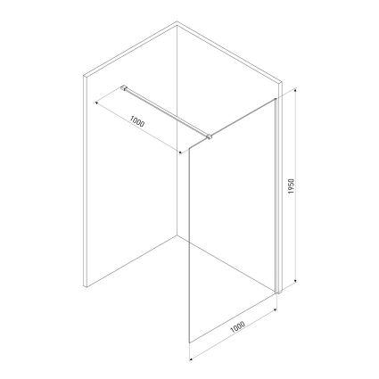 Комплект Walk-In: Стінка 100*190см прозоре скло 8мм + стіновий Профіль хром 190см+Тримач скла (D) з кріпленнями 100см - 2