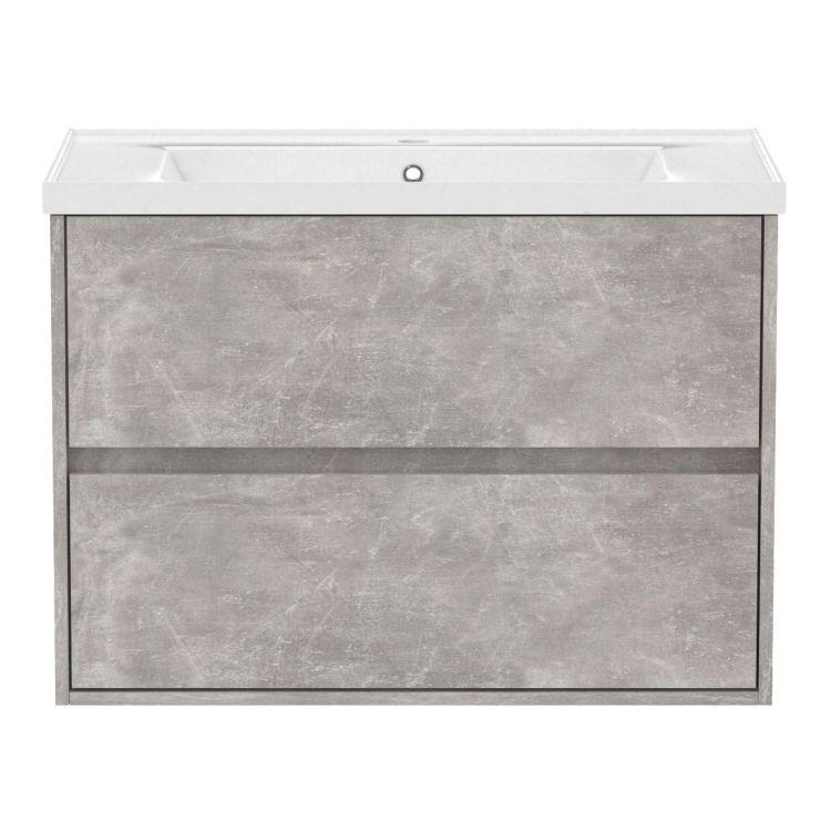 TEO комплект меблів 80см бетон: тумба підвісна, 2 ящика + умивальник накладний арт 15-88-080 - 2