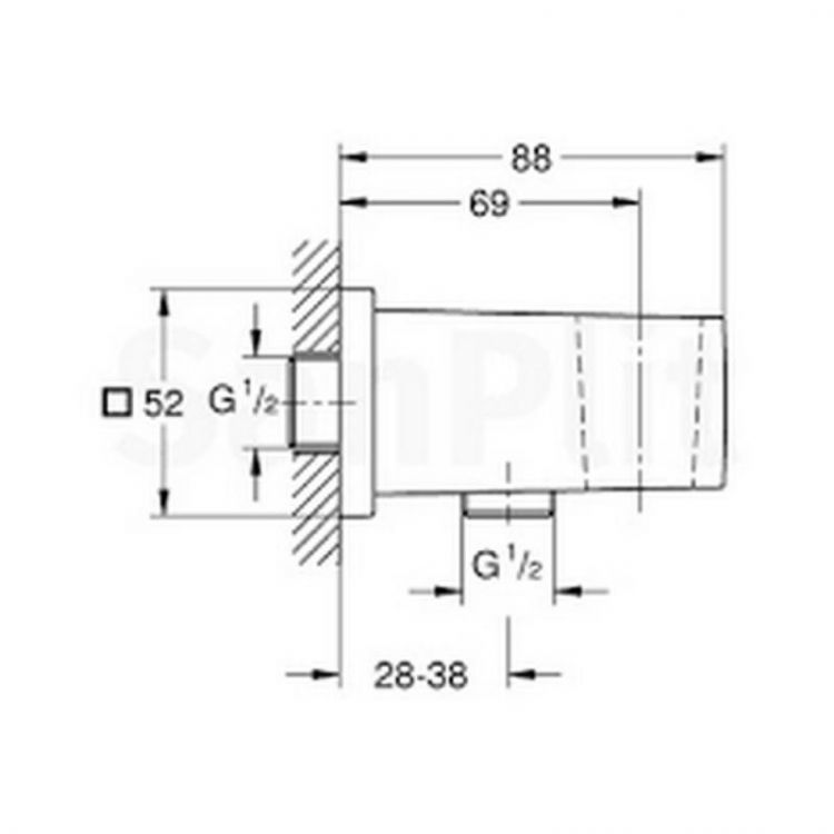 Подключение шланга Grohe Euphoria Cube 26370000 - 2