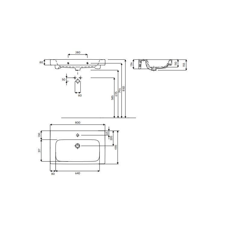 MODO умывальник с отверстием,с переливом 80*48,5 см (пол.) - 2