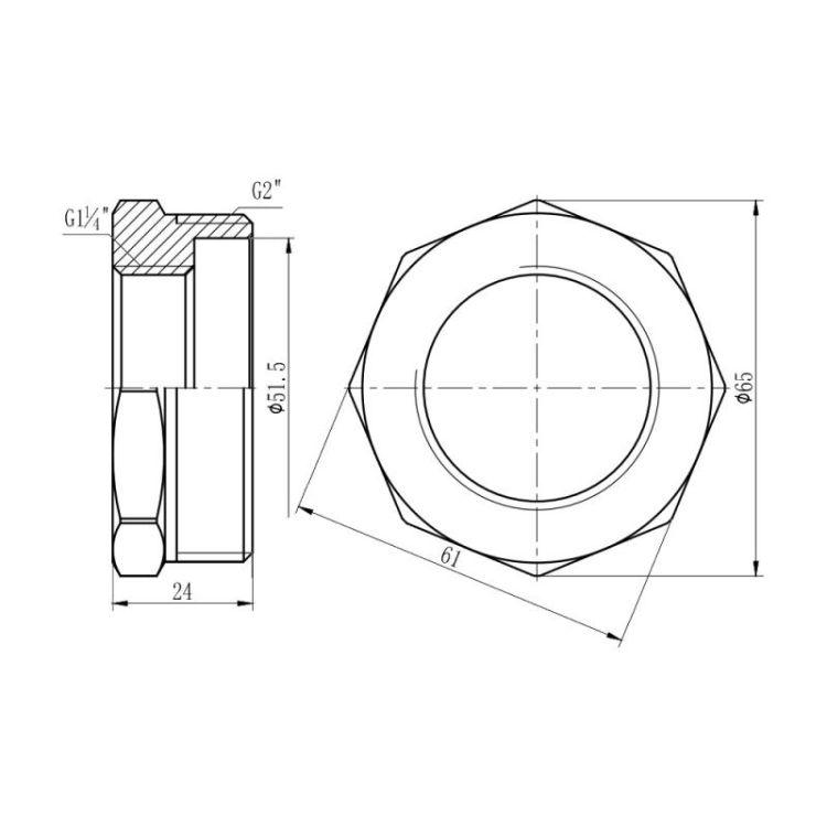 Футорка Forte 2Нх1 1/4В - 2