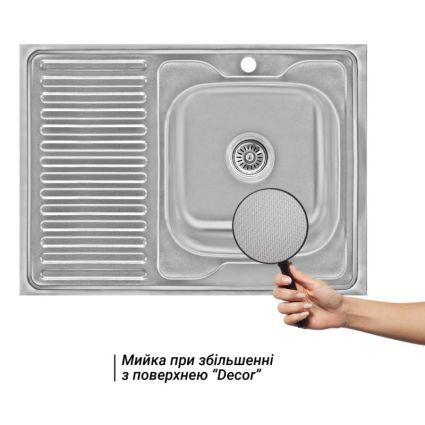 Кухонна мийка Lidz 6080-R Decor 0,6 мм (LIDZ6080RDEC06) - 3