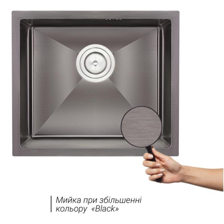 Кухонна мийка Qtap D4843BL 2.7/1.0 мм (QTD4843BLPVD2710) - 3