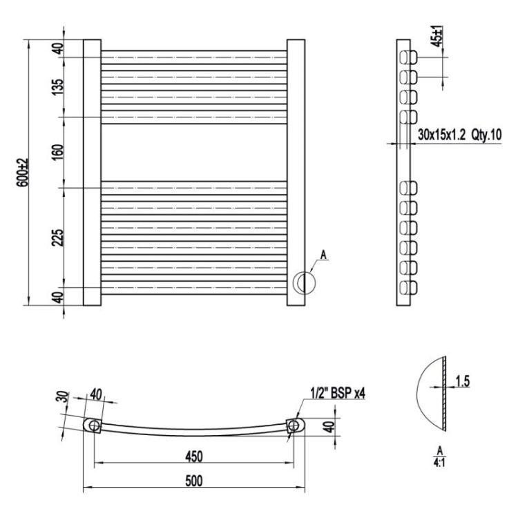 Рушникосушарка водяна Qtap Dias (BLA) P10 600x500 HY - 2