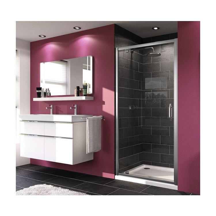 X1 дверь распашная для ниши и боковой стенки 90*190см (проф гл хром, стекло прозр) - 1