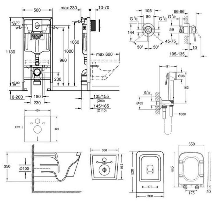 Комплект інсталяція Grohe Rapid SL 38721001 + унітаз з сидінням Qtap Crow WHI 5170 + набір для гігієнічного душу зі змішувачем Grohe BauClassic 2904800S - 2