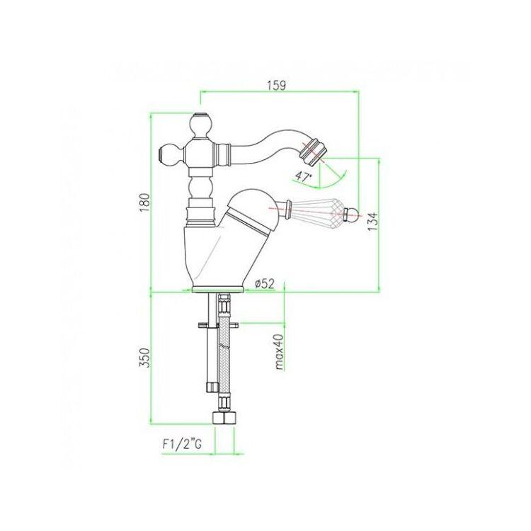 Змішувач для кухні Santan IMPERIAL Black 89CR5314 з донним клапаном, ретро - 2
