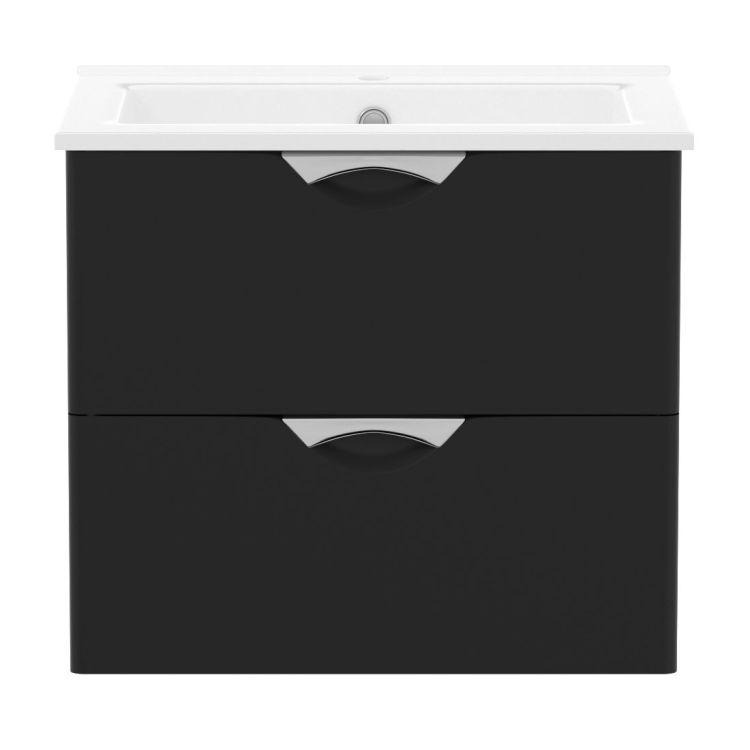 NOVA VLNA M комплект меблів 80см, чорний: тумба підвісна, 2 ящика + умивальник накладний арт i11054 - 2