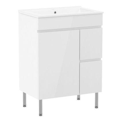 FLY комплект меблів 60см, білий: підлогова тумба, 2 шухляди, дверцята 1 + умивальник накладний арт RZJ610 - 1