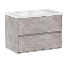 TEO комплект меблів 80см бетон: тумба підвісна, 2 ящика + умивальник накладний арт 15-88-080