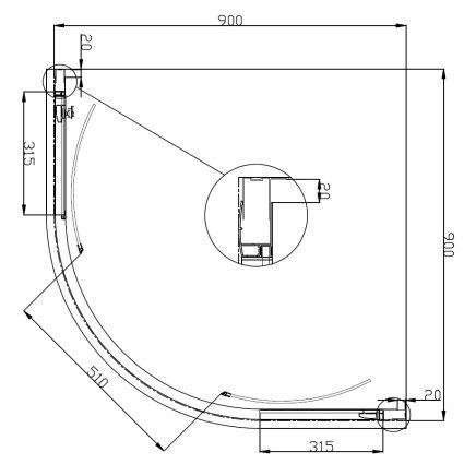 FIESTA душова кабіна 90*90*200 см на дрібному піддоні, профіль хром, прозоре скло - 3