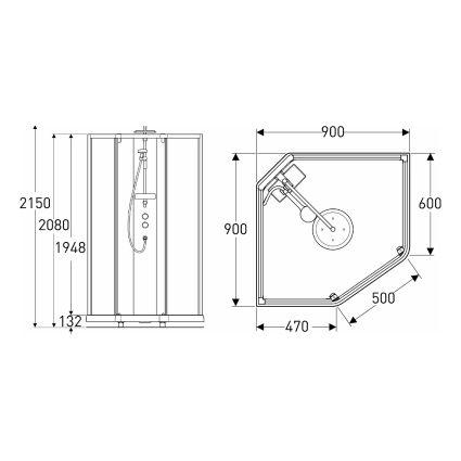 SHOWERAMA 10-5 Comfort душова кабіна 90*90см, п'ятикутна, профіль білий, прозоре скло матове скло - 2