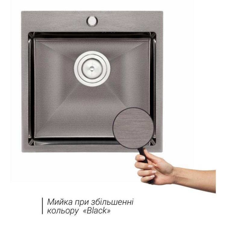 Кухонна мийка Qtap D5050BL 2.7/1.0 мм (QTD5050BLPVD10) - 3