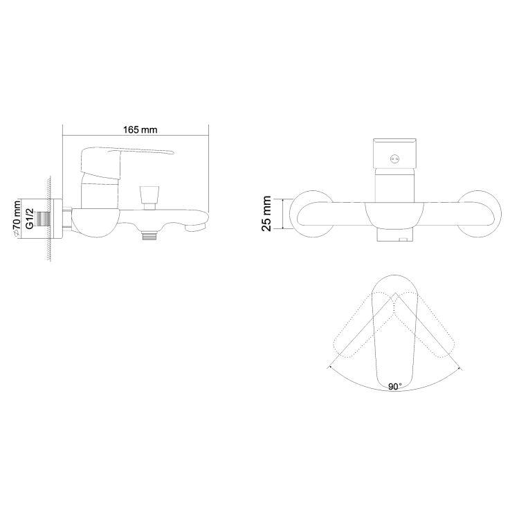 FLY змішувач для ванни одноважільний, хром, 35 мм - 2