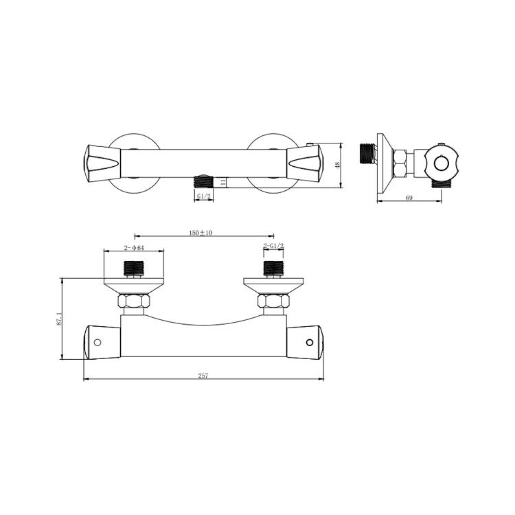 Змішувач PIAVE Ø27 термостатичний для душу CORSO (EG-2D187C) - 5