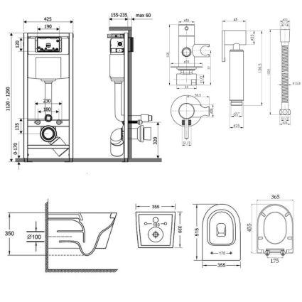 Комплект Qtap інсталяція Nest QTNESTM425M08CRM + унітаз з сидінням Swan QT16335178W + набір для гігієнічного душу зі змішувачем Inspai-Varius QTINSVARCRMV00440001 - 2
