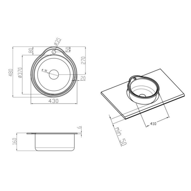 Кухонна мийка Lidz 4843 dekor 0,6 мм (LIDZ4843MDEC06) - 2