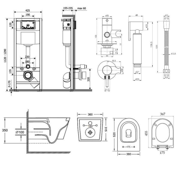 Комплект Qtap інсталяція Nest QTNESTM425M11CRM + унітаз з сидінням Jay QT07335176W + набір для гігієнічного душу зі змішувачем Inspai-Varius QTINSVARCRMV00440001 - 2