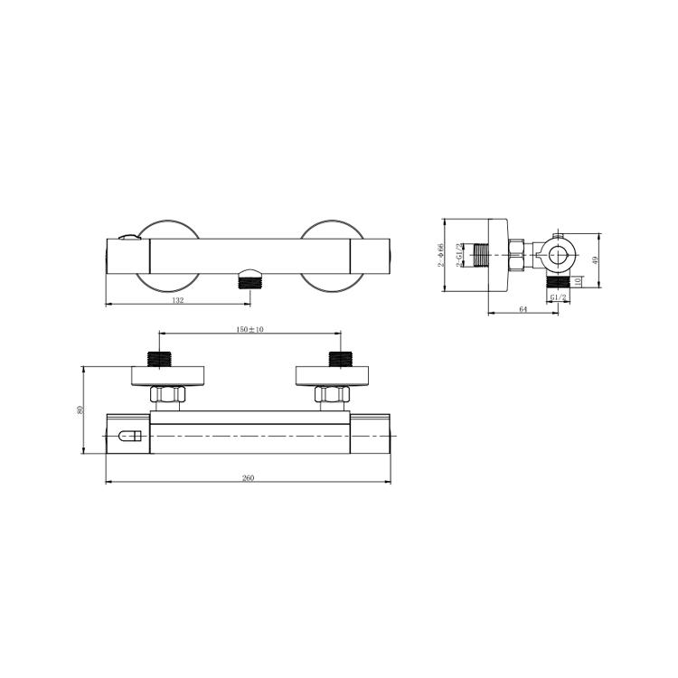Змішувач VOLTURNO Ø25 термостатичний для душу CORSO (EF-2D186C) - 4