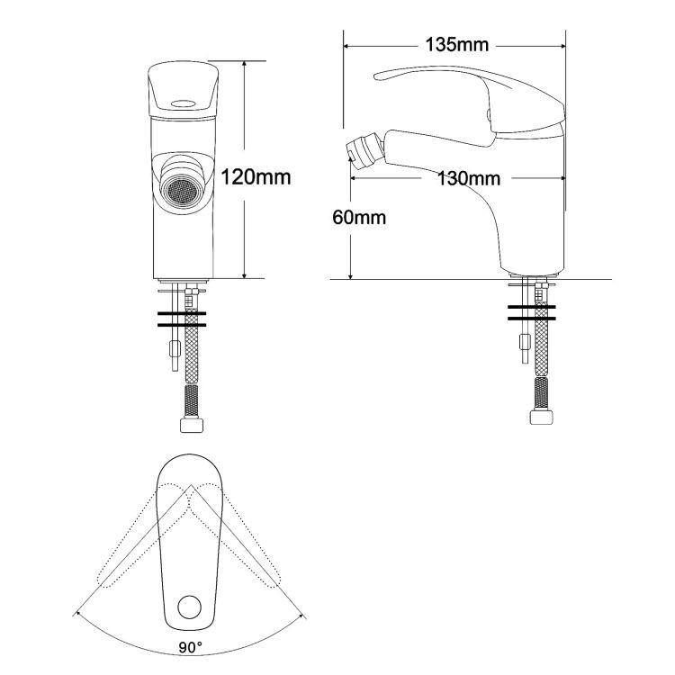BARON смеситель для биде однорычажный, хром 40мм - 2