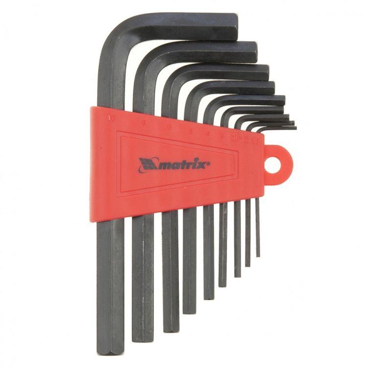 Набор ключей імбусових HEX, 1,5-10 мм, CrV, 9 шт. короткие, оксидированные MTX 112269 - 2
