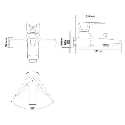 ROCK смеситель для ванны однорычажный, хром 35 мм - 2
