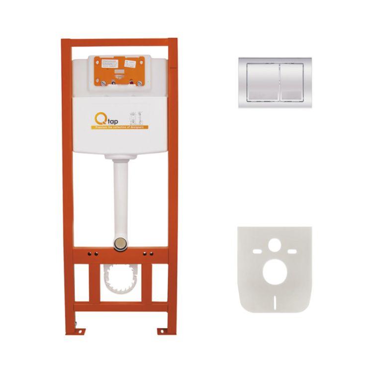 Набір інсталяція 4 в 1 Qtap Nest ST з квадратної панеллю змиву QT0133M425M06028CRM - 1