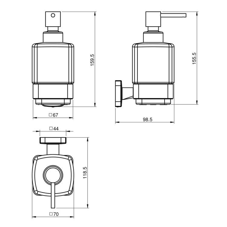 TEO диспенсер матовое стекло, крепление к стене, хром - 2