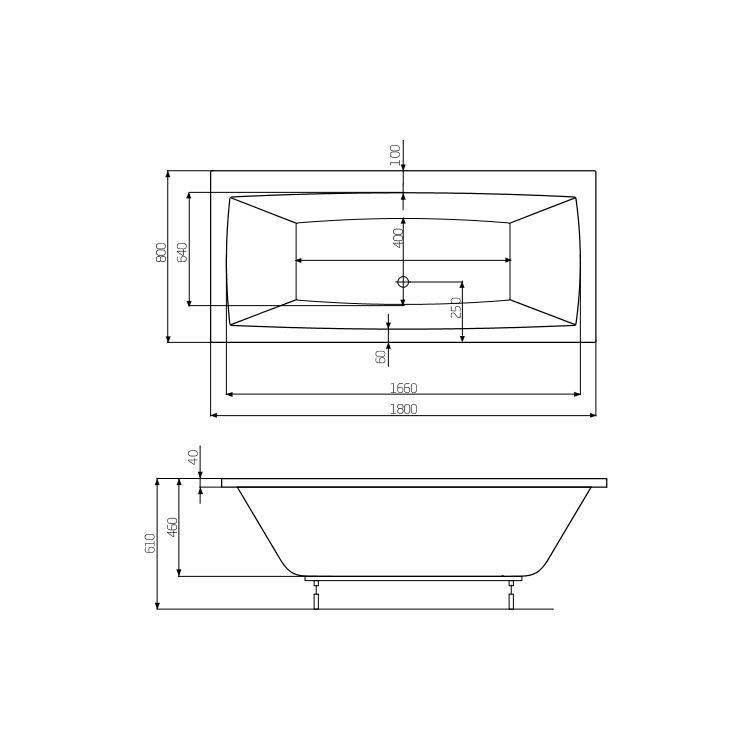 VITA ванна 1800*800мм, з ніжками - 2