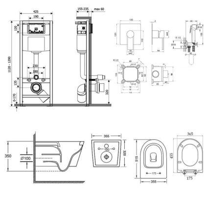 Комплект Qtap інсталяція Nest QTNESTM425M11CRM + унітаз з сидінням Swan QT16335178W + набір для гігієнічного душу зі змішувачем Form QTFORMCRM001AB - 2