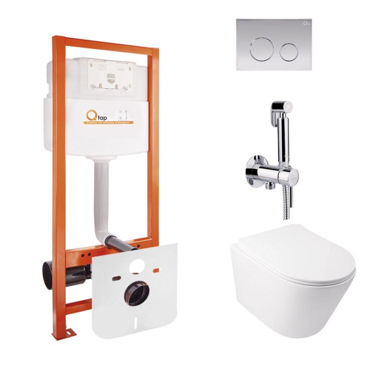 Комплект Qtap інсталяція Nest QTNESTM425M11CRM + унітаз з сидінням Swan QT16335178W + набір для гігієнічного душу зі змішувачем Inspai-Varius QTINSVARCRMV00440001 - 1