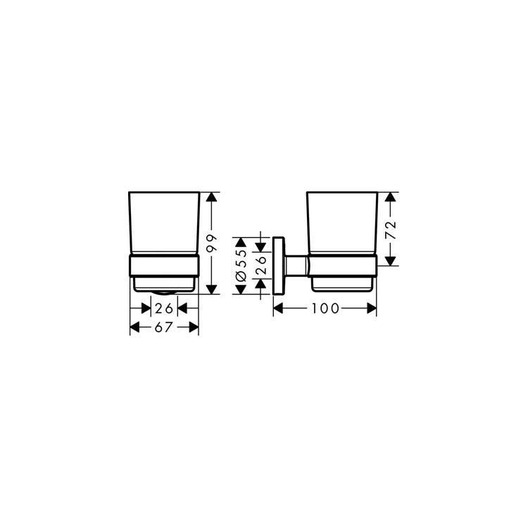 Logis Набор аксессуаров: крючок двойной, держатель туалетной бумаги, стакан, туалетная щётка (41725000+41723000+41718000+41722000) - 2