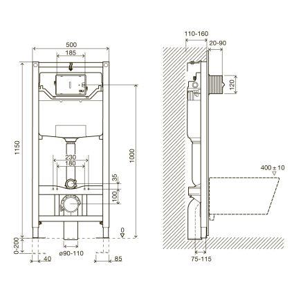 Комплект: LIBRA S Rectangular унітаз 51*34,5*34см підвісний, сидіння Slim slow-closing+IMPRESE комплект 3в1 інсталяції - 2