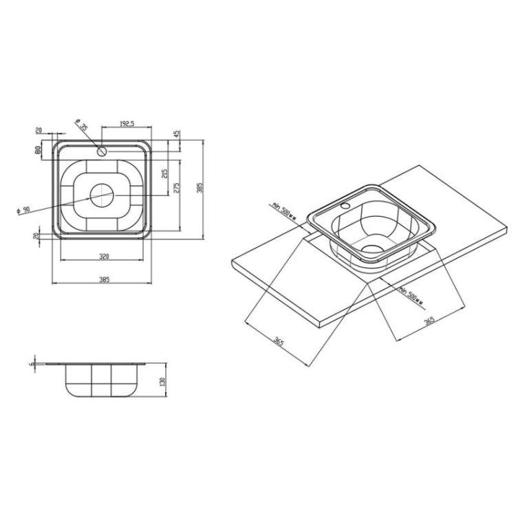 Мойка Imperial 3838 (0,6 мм) Decor - 2