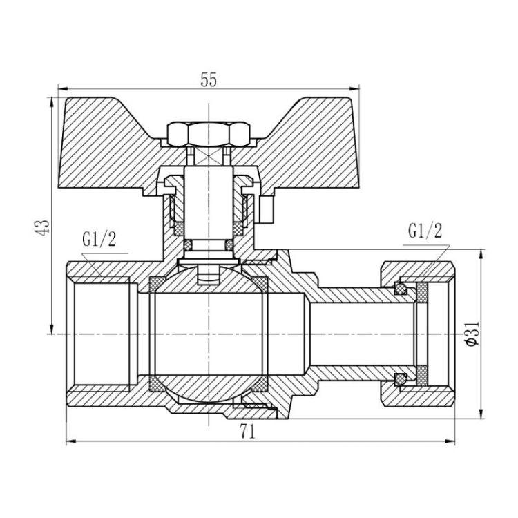 Кран кульовий прямий з накидною гайкою Forte 260W15 1/2в х 1/2в - 2