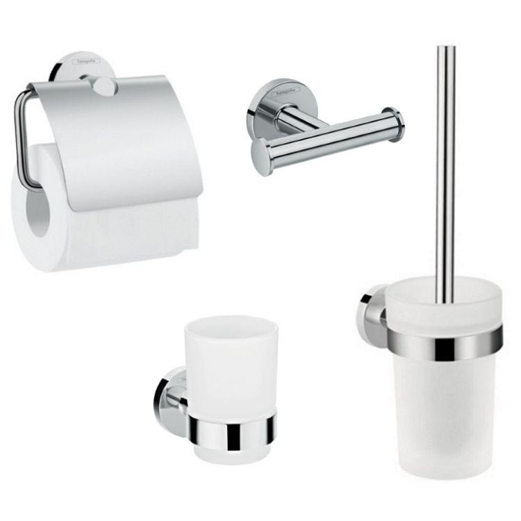 Logis Набор аксессуаров: крючок двойной, держатель туалетной бумаги, стакан, туалетная щётка (41725000+41723000+41718000+41722000) - 1