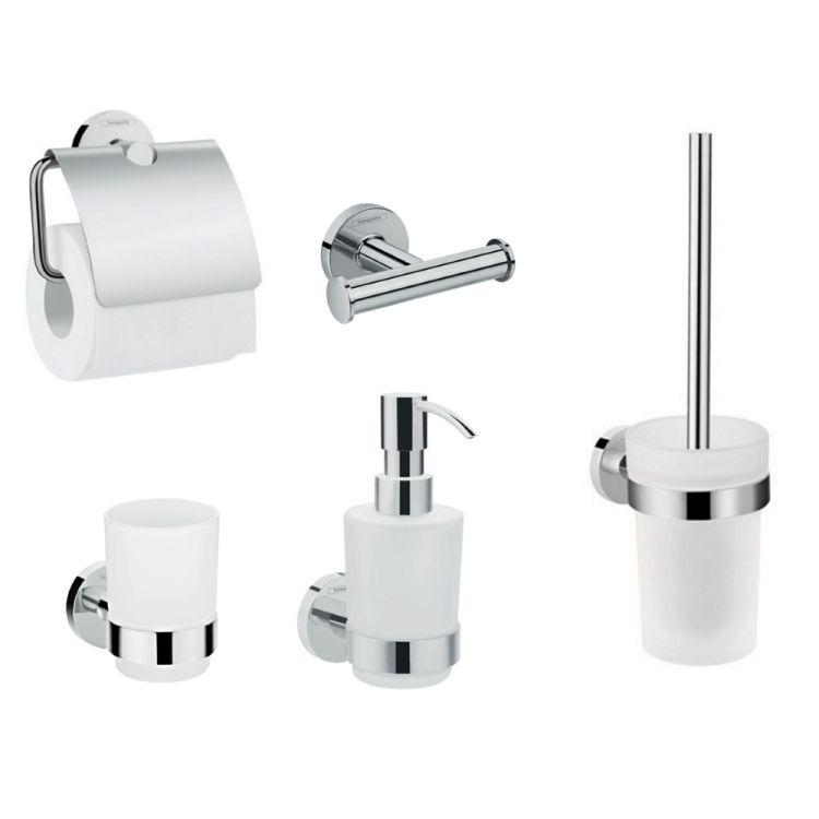 Logis Набор аксессуаров: крючок двойной, диспенсер, держатель туалетной бумаги, стакан, туалетная щётка (41725000+41714000+41723000+41718000+41722000) - 1