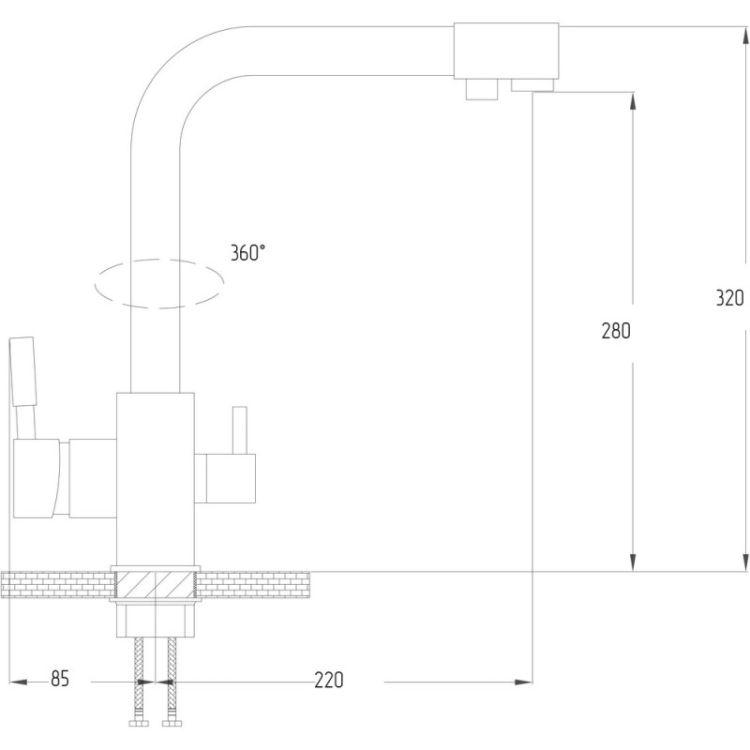 Смеситель для кухни Potato P4098 с подключением к фильтру - 2