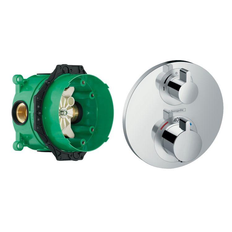 ECOSTAT S термостат з запірним/перемикаючим вентилем + прихована частина IBOX universal для змішувача (в подарунок) - 1