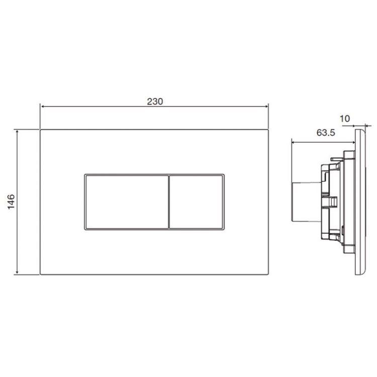 Комплект: LIBRA S Rectangular унітаз 51*34,5*34см підвісний, сидіння Slim slow-closing+ VOLLE MASTER NEO інсталяція для підв.унітазу з клав. зливу, хром - 4
