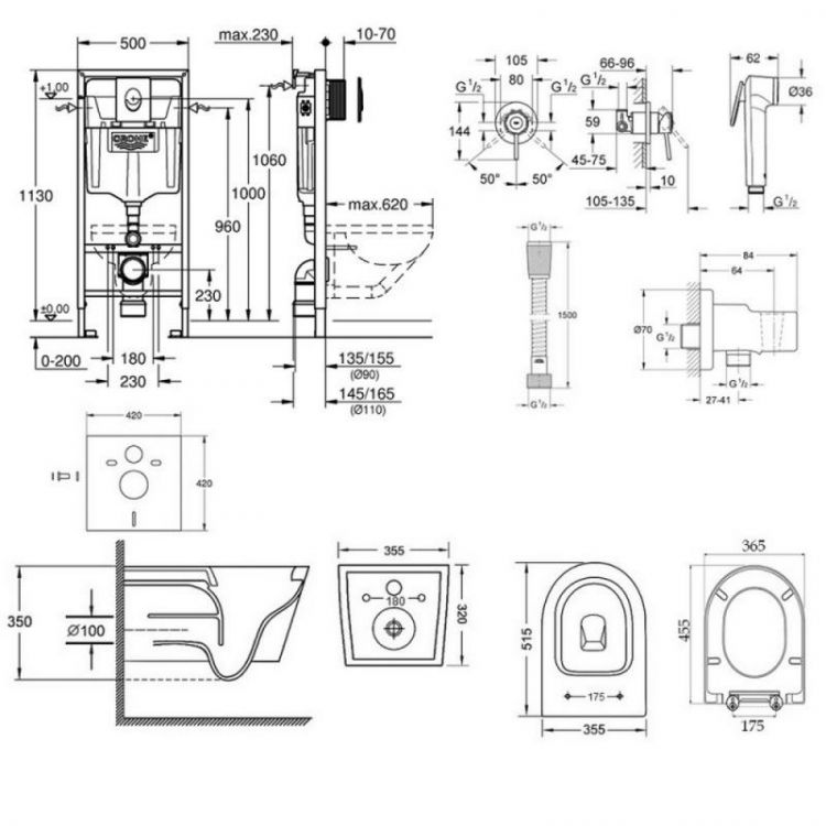 Комплект інсталяція Grohe Rapid SL 38721001 + унітаз з сидінням Qtap Swan QT16335178W + набір для гігієнічного душу зі змішувачем Grohe BauClassic 111048 - 2