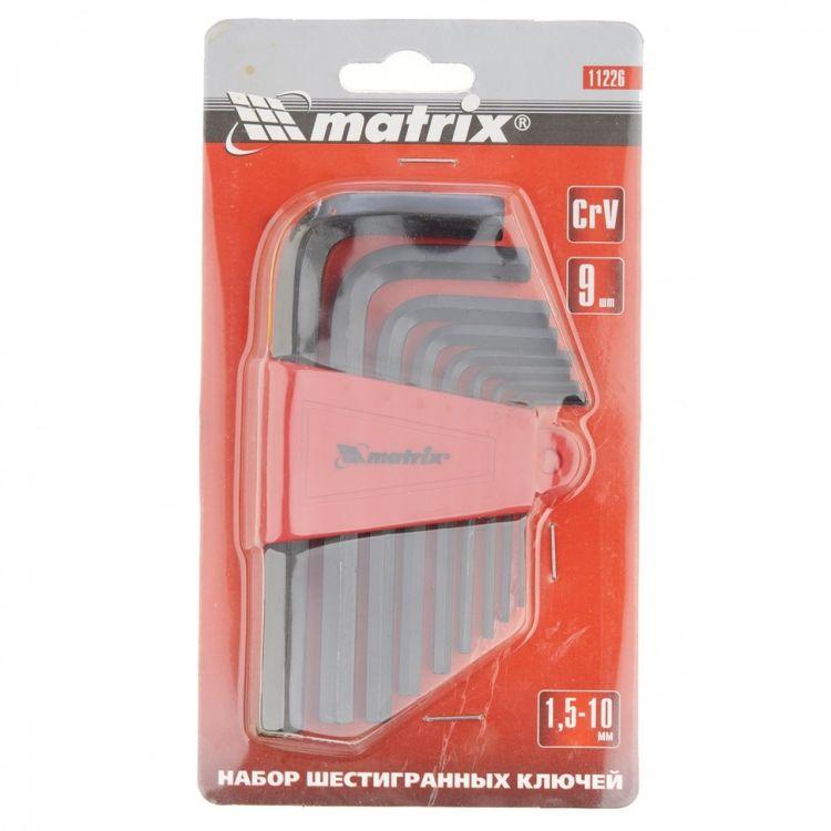 Набор ключей імбусових HEX, 1,5-10 мм, CrV, 9 шт. короткие, оксидированные MTX 112269 - 4