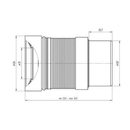 Гнучка труба д/унітазу ф110мм б/манжету К 821R Гофра д/унітазу - 2