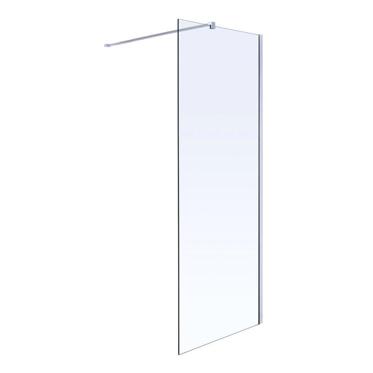 Комплект Walk-In: Стінка 100*190см прозоре скло 8мм + стіновий Профіль хром 190см+Тримач скла (D) з кріпленнями 100см - 1