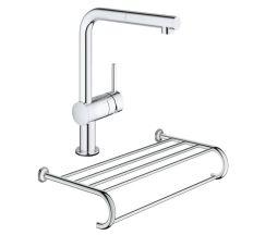 Набор Grohe смеситель для кухни сенсорный Minta Touch 31360001 + полка для полотенец Essentials Authentic 40660001