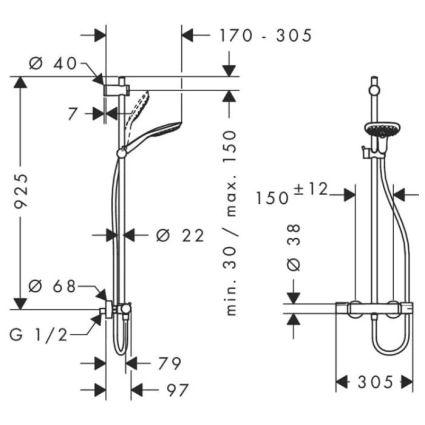 RAINDANCE SELECT E 150 Showerpipe душова система SemiPipe, хром - 2