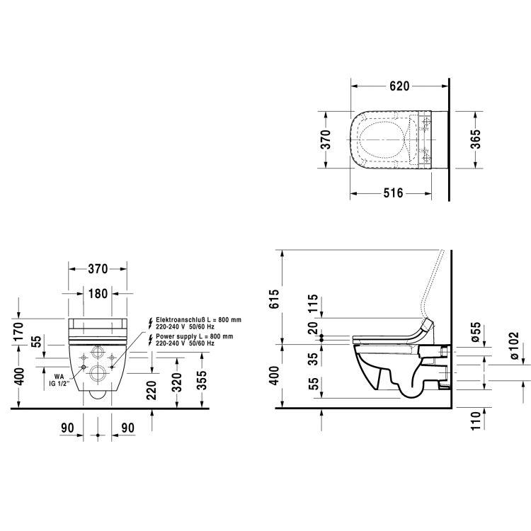 HAPPY D.2 унитаз 36,5*62см, подвесной, Rimless, с вертикальным смывом, только в сочетании с сиденьем SensoWash, с покрытием HygieneGlaze - 2