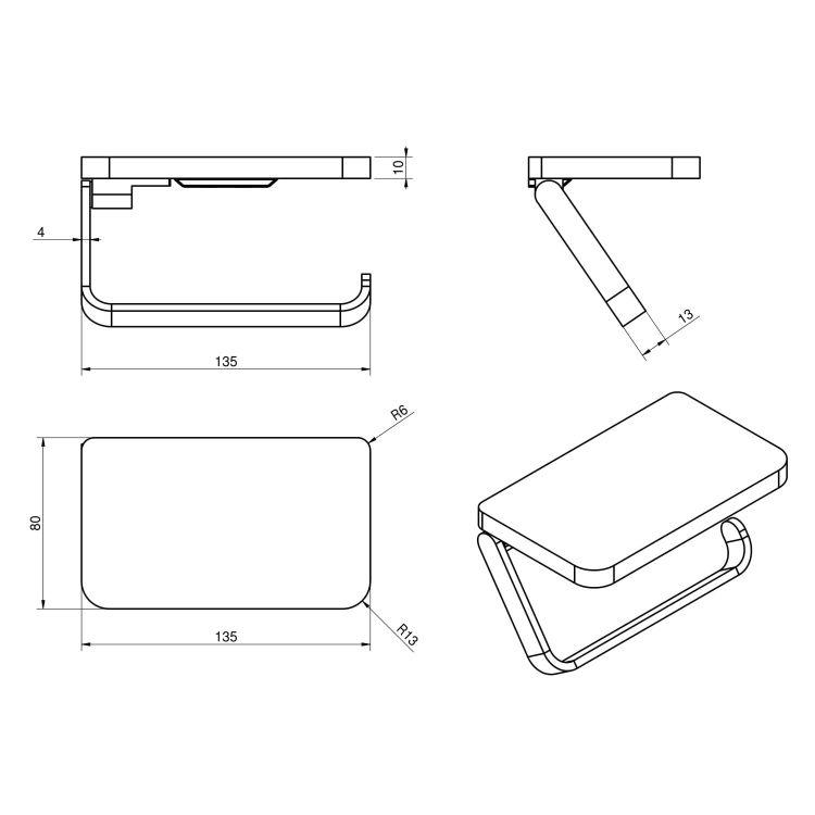 TEO тримач паперу-поличка, кріплення до стіни, хром - 2