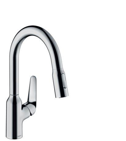 FOCUS M42 змішувач для кухні одноважільний, 180, 2jet, з витяжним душем, хром - 1